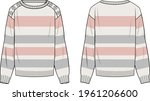 women's button detail  striped... | Shutterstock .eps vector #1961206600