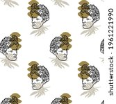 vector pattern with hand drawn... | Shutterstock .eps vector #1961221990