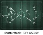 soccer field with white lines... | Shutterstock .eps vector #196122359