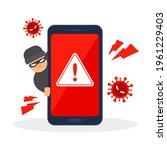 smartphone with error detection....   Shutterstock .eps vector #1961229403