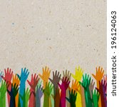 hands of different colors.... | Shutterstock .eps vector #196124063