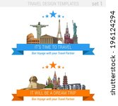 ?Tourism adventure vacation vector set. Travel design templates collection.  Sphinx, Pagoda, Eiffel Tower, Basil Cathedral, Pantheon, Colosseum, Liberty Statue, Christ Redeemer, Kremlin, Stonehenge. - stock vector