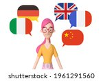 young girl learning different... | Shutterstock . vector #1961291560