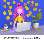girl with long hair works at... | Shutterstock . vector #1961301259