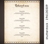 restaurant menu design | Shutterstock .eps vector #196130309