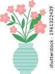 bunch of pink flowers in a vase....   Shutterstock .eps vector #1961322439