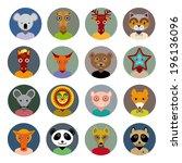 set of animals faces circle...