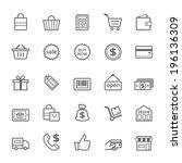 set of outline stroke shopping... | Shutterstock .eps vector #196136309