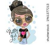 cute cartoon girl with big... | Shutterstock .eps vector #1961377213