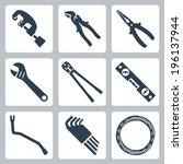hand tools vector icons set | Shutterstock .eps vector #196137944