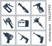 power tools vector icons set | Shutterstock .eps vector #196137959