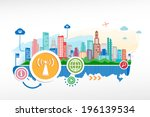 wi fi emblem and cityscape... | Shutterstock .eps vector #196139534