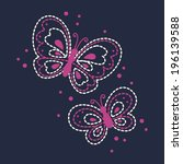 Cute Butterfly Embroidery - stock vector