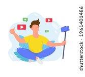 male video blogger recording... | Shutterstock .eps vector #1961401486