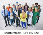 diverse multiethnic people with ... | Shutterstock . vector #196142720