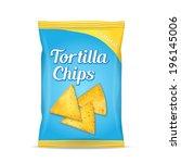 tortilla corn chips packet bag  ... | Shutterstock .eps vector #196145006