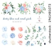 dusty blue  blush pinkand coral ... | Shutterstock .eps vector #1961481073
