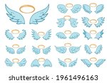 flying angel wings with a...   Shutterstock .eps vector #1961496163