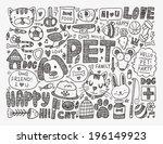 Stock vector doodle pet background 196149923