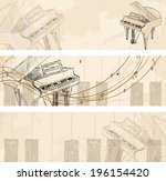 vector sketch grand piano on a... | Shutterstock .eps vector #196154420