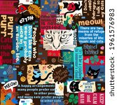 collage with animals  stars ... | Shutterstock .eps vector #1961576983