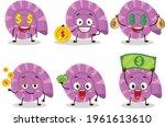 purple clam cartoon character...   Shutterstock .eps vector #1961613610