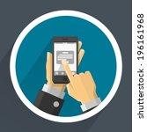phone in hands. vector | Shutterstock .eps vector #196161968