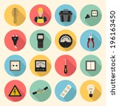 electricity flat style icons... | Shutterstock .eps vector #196163450