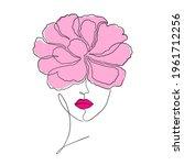 minimal woman face on white...   Shutterstock .eps vector #1961712256