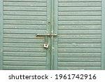 Green Paint Wooden Garage Door. ...