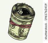 money roll with dollar... | Shutterstock .eps vector #1961762419