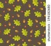 oak leaves and acorns seamless... | Shutterstock .eps vector #196182680