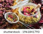 Glass Jar Of Medicinal Plants   ...