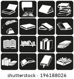 white icons on black background ... | Shutterstock .eps vector #196188026