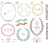 laurel wreath wedding ... | Shutterstock .eps vector #196189733