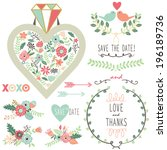 wedding vintage flora diamond... | Shutterstock .eps vector #196189736