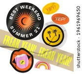 vector stickers pack. peeled... | Shutterstock .eps vector #1961969650