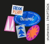 vector stickers pack. peeled... | Shutterstock .eps vector #1961972626