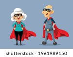 superhero grandparents vector... | Shutterstock .eps vector #1961989150