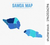 samoa detailed map with regions | Shutterstock .eps vector #1962026296