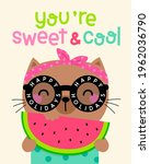 cute cat holding a sliced... | Shutterstock .eps vector #1962036790
