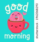 cute coffee cup and donut... | Shutterstock .eps vector #1962068293