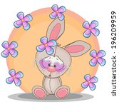 cute rabbit with flowers | Shutterstock .eps vector #196209959