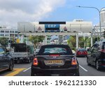 Small photo of SINGAPORE - 2 MAR 2021: One of 78 Electronic Road Pricing (ERP) gantries. It collects road tolls. ERP is a part of intelligent traffic management system uses congestion pricing and electronic tolls.