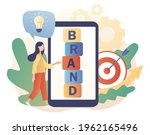 tiny woman working on branding. ... | Shutterstock .eps vector #1962165496