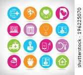 medical icons  colorful buttons | Shutterstock .eps vector #196225070