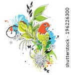 vector composition with birds... | Shutterstock .eps vector #196226300