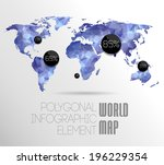 polygonal world map and... | Shutterstock . vector #196229354