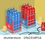 cylinders with propane and...   Shutterstock .eps vector #1962318916