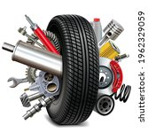 vector car parts with tire... | Shutterstock .eps vector #1962329059